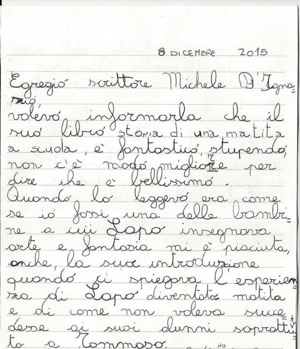 Lettera di Serena a Michele D'Ignazio